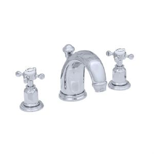 3701 Perrin & Rowe Three Hole Basin Tap Set With High Neck Spout Crosshead